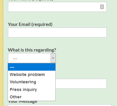 "screenshot of contact form showing ""what is this regarding"" selection field"