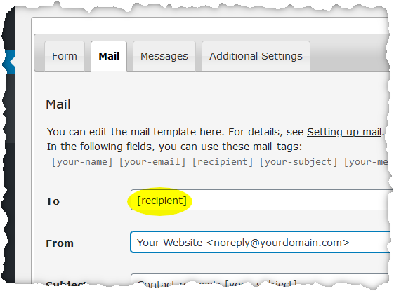 screenshot of Mail tab og contact form editor