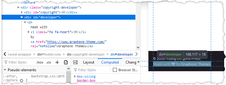 screenshot of developer tools in browser