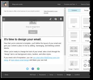 MailChimp memo design screen