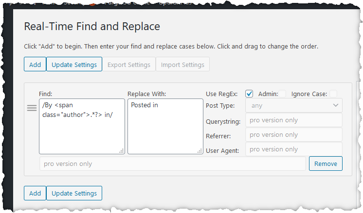 Real-Time Find and Replace settings screen showing the settings described in the text below.