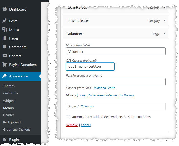 Screenshot showing how to set the CSS class of a menu item